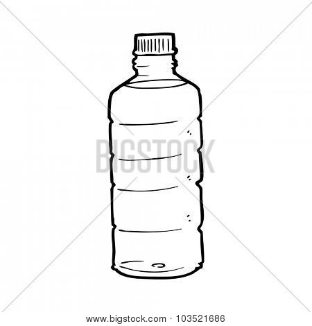 simple black and white line drawing cartoon  water bottle