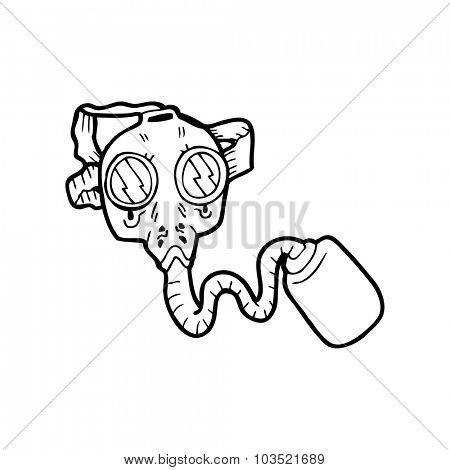 simple black and white line drawing cartoon  gas mask