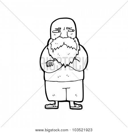simple black and white line drawing cartoon  old man