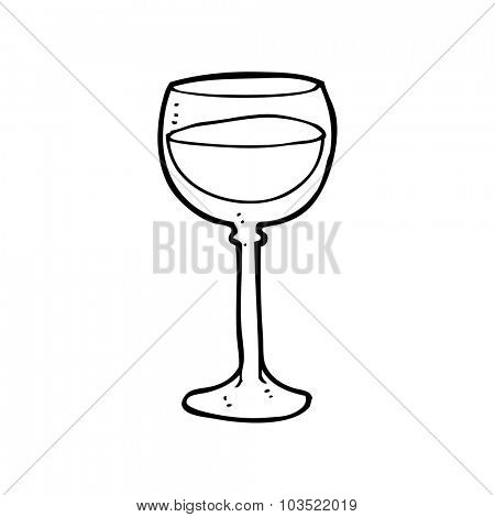 simple black and white line drawing cartoon  wine glass