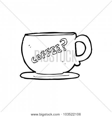simple black and white line drawing cartoon  coffee mug