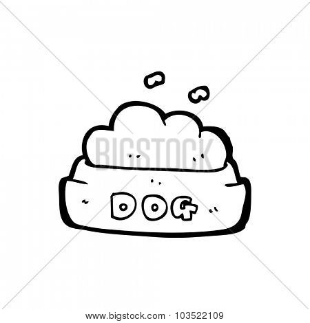 simple black and white line drawing cartoon  dog food