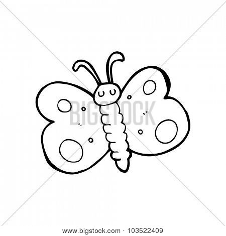 simple black and white line drawing cartoon  butterfly