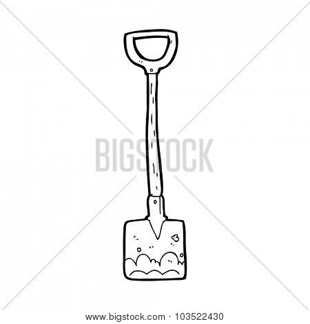 simple black and white line drawing cartoon  shovel