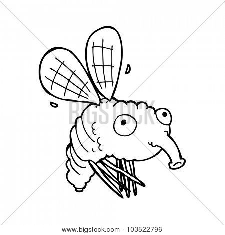 simple black and white line drawing cartoon  fly