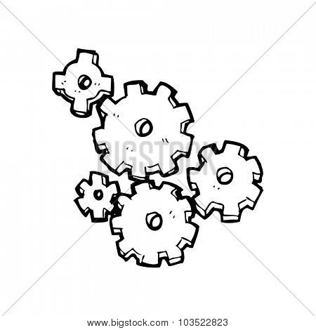 simple black and white line drawing cartoon  cogs and gears
