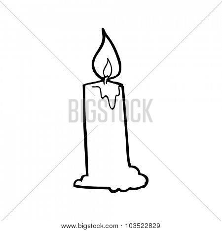 simple black and white line drawing cartoon  candle