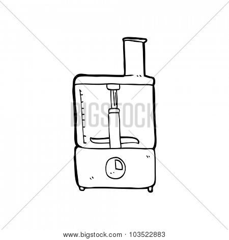 simple black and white line drawing cartoon  mixer