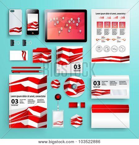 Corporate identity template set. Business stationery mockup. Branding design. Letter envelope, card, cd, book, catalog, pen, pencil, badge, notebook, tablet pc, mobile phone, letterhead