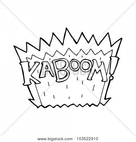 simple black and white line drawing cartoon  explosion