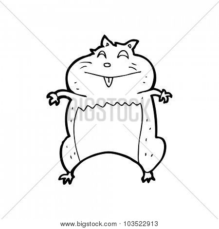 simple black and white line drawing cartoon  hamster