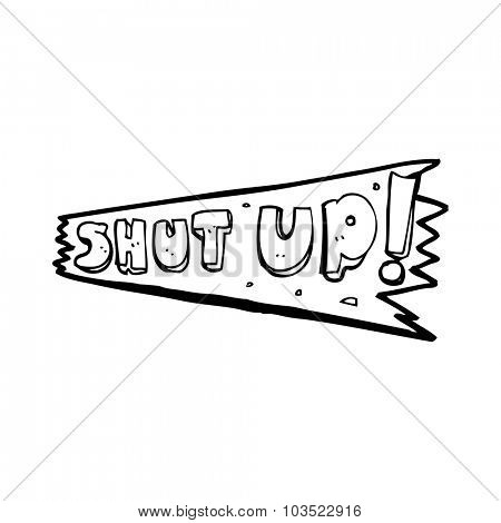 simple black and white line drawing cartoon  shut up sign