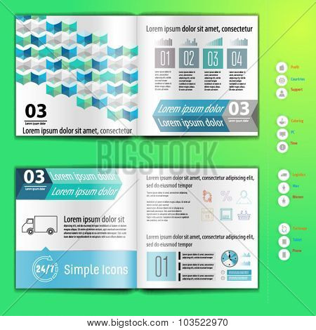 Business brochure, booklet mokup design template, with infographic. Layout template.