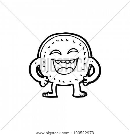 simple black and white line drawing cartoon  happy coin