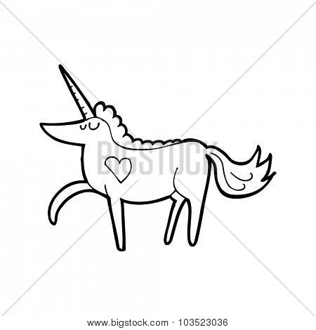 simple black and white line drawing cartoon  unicorn