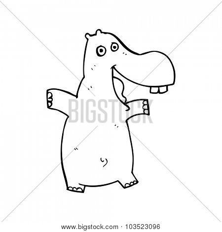 simple black and white line drawing cartoon  hippo