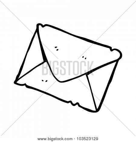 simple black and white line drawing cartoon  letter