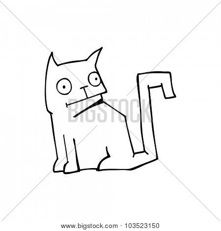 simple black and white line drawing cartoon  cat