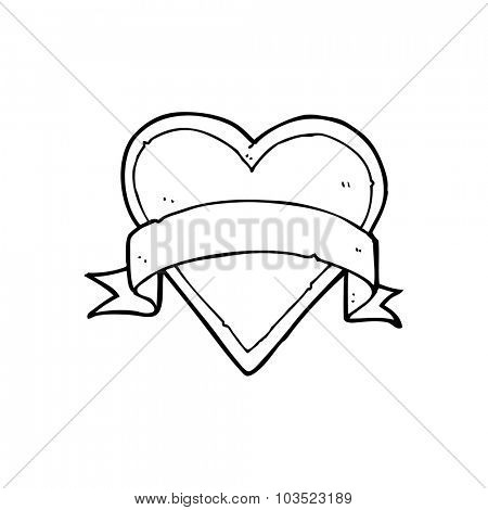 simple black and white line drawing cartoon  love heart tattoo