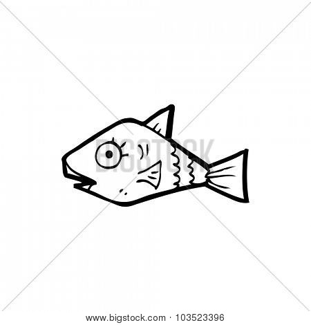 simple black and white line drawing cartoon  fish