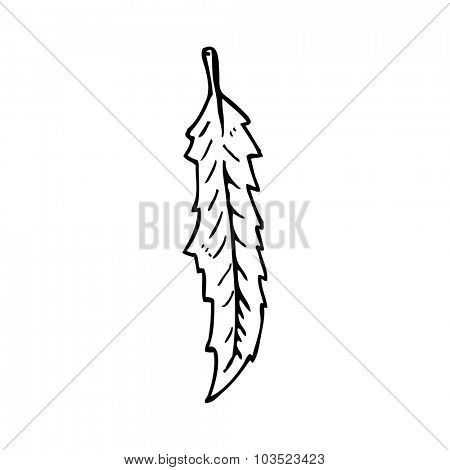 simple black and white line drawing cartoon  feather