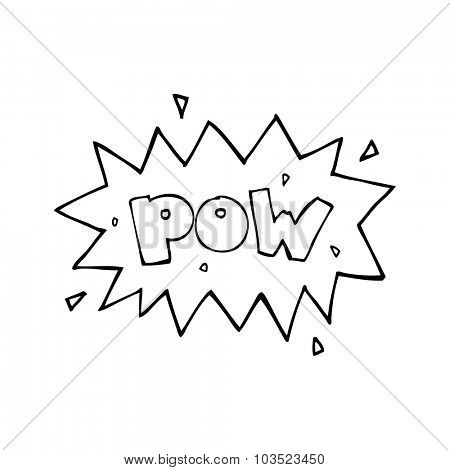 simple black and white line drawing cartoon  comic book pow symbol