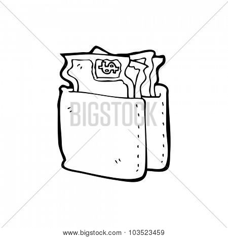 simple black and white line drawing cartoon  wallet full of cash