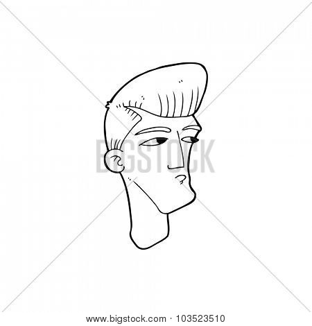 simple black and white line drawing cartoon  cool fashion guy
