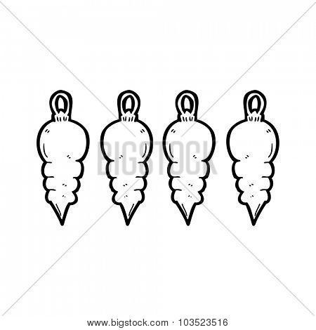 simple black and white line drawing cartoon  christmas decoration