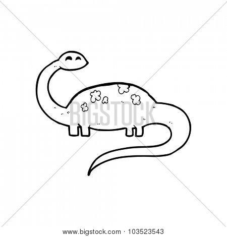 simple black and white line drawing cartoon  dinosaur