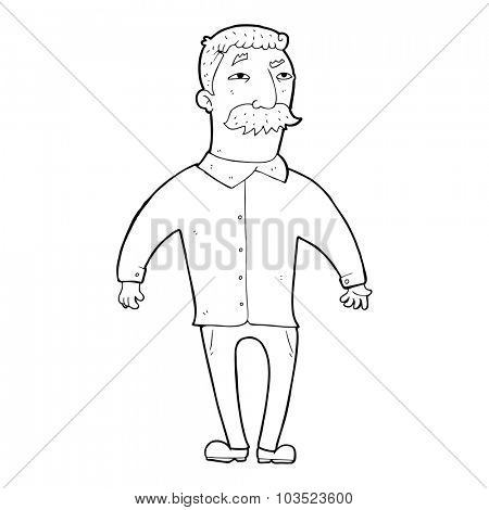 simple black and white line drawing cartoon  man with mustache