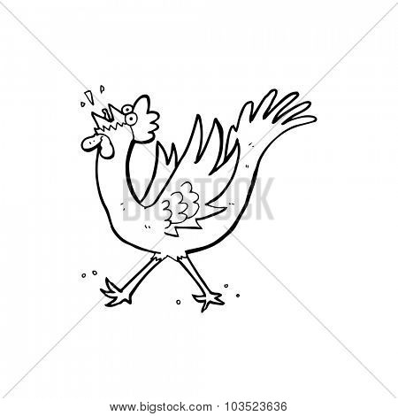 simple black and white line drawing cartoon  rooster