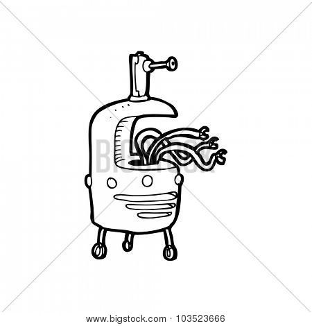 simple black and white line drawing cartoon  weird robot