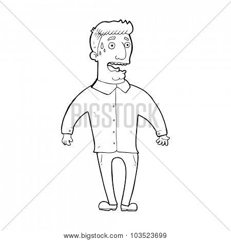 simple black and white line drawing cartoon  nervous man