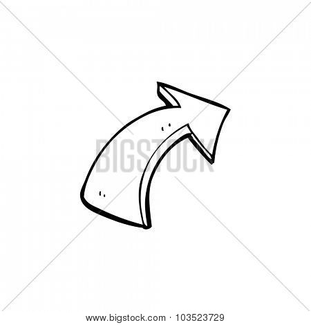 simple black and white line drawing cartoon  pointing arrows