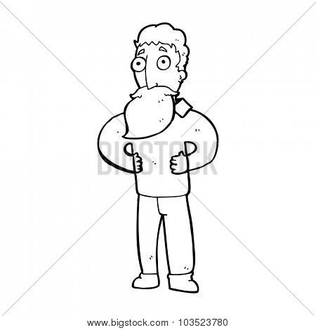 simple black and white line drawing cartoon  man with beard