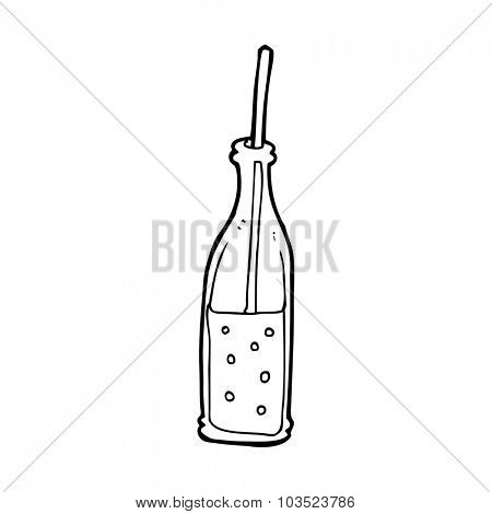 simple black and white line drawing cartoon  fizzy drink and straw
