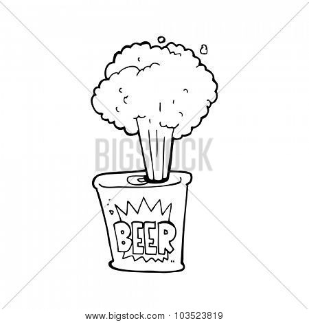 simple black and white line drawing cartoon  beer can