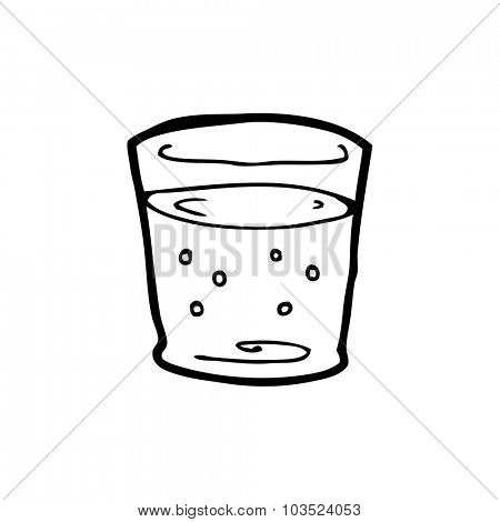 simple black and white line drawing cartoon  whiskey glass