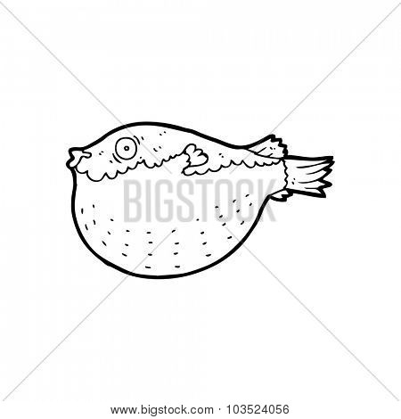 simple black and white line drawing cartoon  blowfish