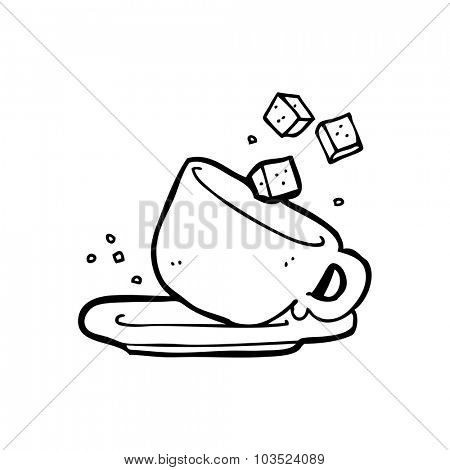 simple black and white line drawing cartoon  sugarlumps and cup