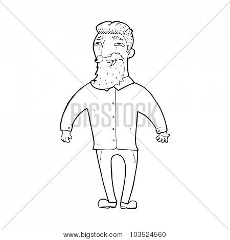 simple black and white line drawing cartoon  happy man with beard