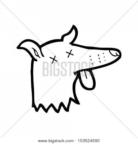 simple black and white line drawing cartoon  dead dog face