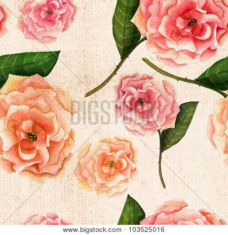 Vintage-styled watercolour rose on textured paper seamless background pattern, sepia-toned