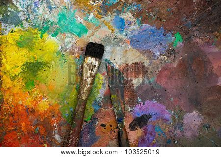 Artistic Paintbrushes And Palette Knifes