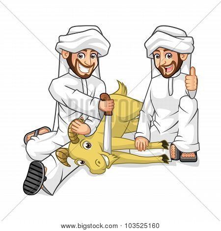 Muslim Mens Cartoon Character Sacrifice Goat