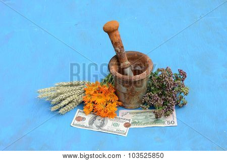 Still Life With Herbs, Dollars And Antique Mortar With  Pestle