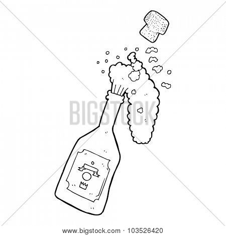 simple black and white line drawing cartoon  champagne popping