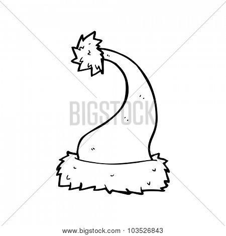 simple black and white line drawing cartoon  santa hat