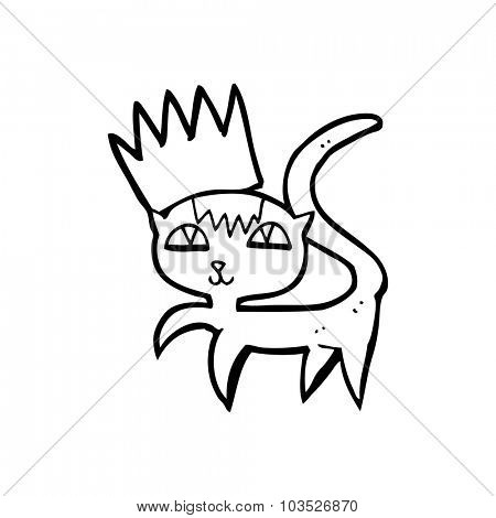 simple black and white line drawing cartoon  cat with crown